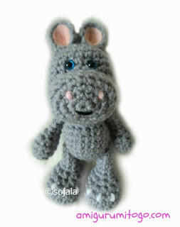 grey amigurumi hippo